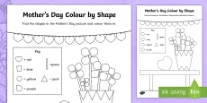 * NEW * Mother's Day Shape Colouring Page
