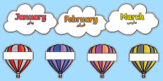 Editable Hot Air Balloon Birthday Display Arabic Translation