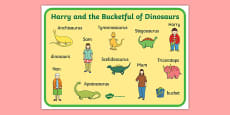 Word Mat to Support Teaching on Harry and the Bucketful of Dinosaurs
