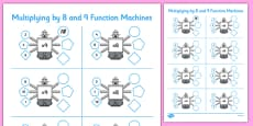 Multiplying by 8 and 9 Function Machines