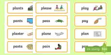 'pl' and 'p' Near Minimal Pair Word Cards