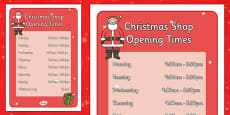 Christmas Shop Role Play Opening Times