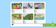 Who, What, Where, When Sentence Building Activity Sheet English/Romanian