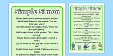 Simple Simon Nursery Rhyme Poster