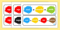 Colour Mixing Display Signs Spanish