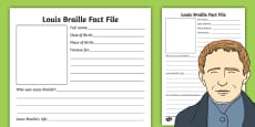Louis Braille Significant Individual Fact Sheet Writing Frame