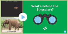 Through the Binoculars PowerPoint Game to Support Teaching on Dear Zoo
