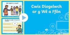 Cwis Diogelwch ar y Wê ac ar Ffôn PowerPoint Welsh