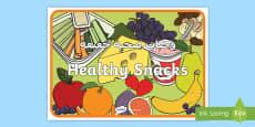 * NEW * Healthy Snacks Display Poster Arabic/English
