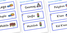 Welcome to our class - Teddy Bear Themed Editable Construction Area Resource Labels