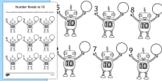Number Bonds to 10 on Robots Worksheet