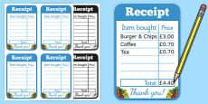 Restaurant Role Play Receipt