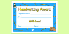 Handwriting Award Certificate