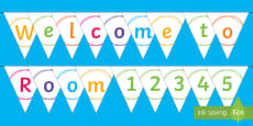Welcome Sign Chalk Theme Display Bunting