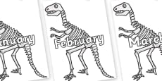Months of the Year on Dinosaur Skeletons