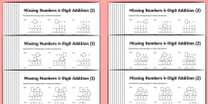 Addition 4 Digit Missing Numbers Differentiated Activity Sheet Pack