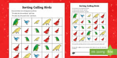 Four Calling Birds Activity Sheet