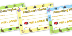 Minibeasts Explorer Reward Certificates