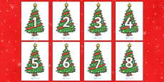 Numbers 0-30 on Christmas Trees (Decorated)