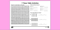 7 Times Table Activity Sheet