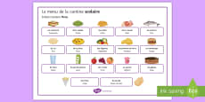 Food and Meals at the School Canteen Word Mat