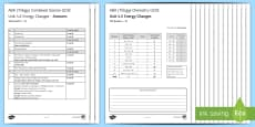 AQA Chemistry Unit 4.5 Energy Changes Test
