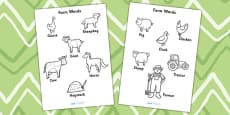 Farm Words Colouring Sheet