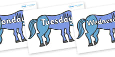 Days of the Week on Blue Horse to Support Teaching on Brown Bear, Brown Bear