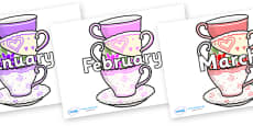Months of the Year on Teacups