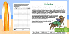 CfE First Level Budgeting for a Summer Holiday Money Activity