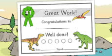 Dinosaur Sticker Reward Certificate (15mm)