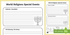 Jewish and Christian Celebrations Activity Sheet