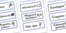 Snowflake Themed Editable Writing Area Resource Labels