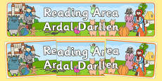 Reading Area Display Banner EYFS Welsh Translation