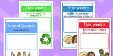 Classroom Monitor Display Signs Weekly Polish Translation