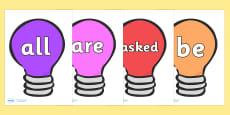 Tricky Words on Lightbulbs (Multicolour)