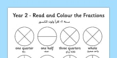 Year 2 Read and Colour a Fraction Arabic Translation