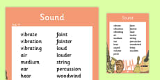 Year 4 Sound Scientific Vocabulary Poster