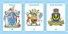 Australian States and Territories Coat of Arms Display Posters