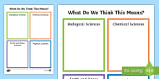 * NEW * What Does It Mean? Science Understanding Activity Sheet