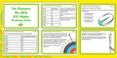 The Olympics Rio 2016 KS1 Maths Challenge Cards