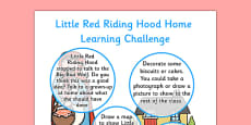 Little Red Riding Hood EYFS Home Learning Challenge Sheet Reception FS2