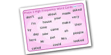 Phase 5 High Frequency Word Mat Dyslexia