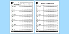 Subtraction from 12 Number Line Worksheets