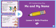 KS1 Me and My Name Handwriting Day Lesson 1 Skills Practice PowerPoint