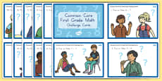 Common Core First Grade Math OA 7 Task Cards Challenge Cards