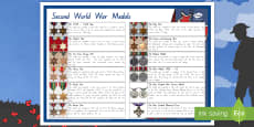 New Zealand Second World War Medals Large Information Poster