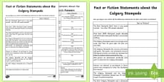 Fact or Fiction Statements about the Calgary Stampede Activity Sheet