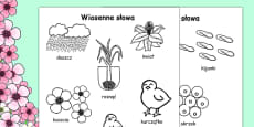 Spring Words Colouring Sheets Polish