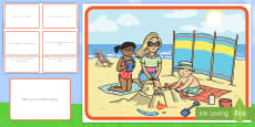 Summer Beach Scene and Question Cards
